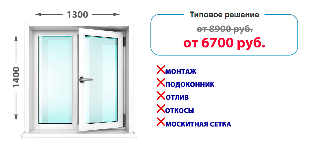 Двустворчатое пластиковое окно KBE Knipping 58 без комплектации =6 700 руб.