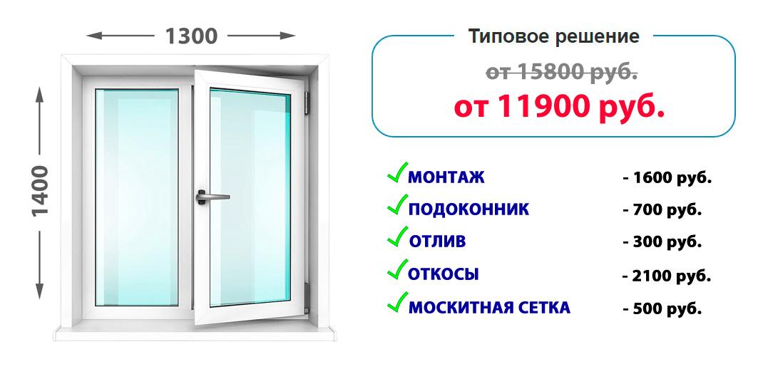 Двустворчатое пластиковое окно KBE Knipping 58 под ключ =11 900 руб.